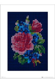 Vintage Cross Stitch Flowers Large - plakat premium