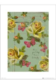 Vintage Flowers Good Day - art print