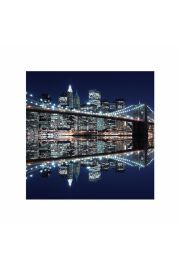 New York Brooklyn Bridge night - plakat premium