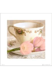 Vintage Tea Cup Pink Flowers - art print