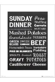 Sunday Dinner Typographic - plakat premium