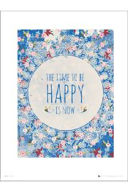 Vintage Happy Is Now - plakat premium