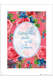 Vintage Flowers With A Dream - plakat premium
