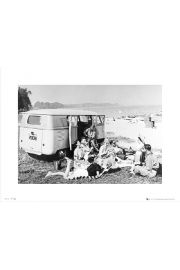 VW Camper Beach Black And White - art print