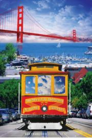 San Francisco Tramwaj i Golden Gate - plakat