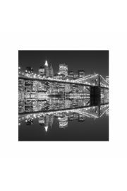 New York Brooklyn Bridge night BW - plakat premium