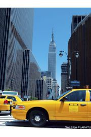 Nowy Jork - close up yellow taxi - reprodukcja