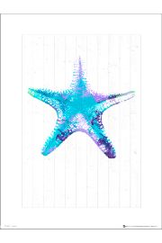 Seaside Starfish Blue - art print