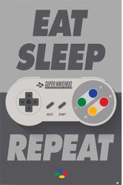 Nintendo Eat Sleep Repeat - plakat